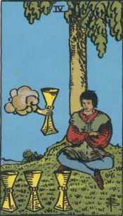 Four of Cups from the Rider-Waite Tarot deck